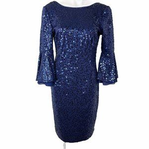 SL FASHIONS NEW YORK SIZE 8 SEQUENCED NAVY BLUE WO